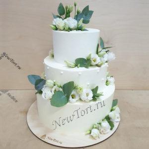 Свадебный торт с цветами СТ341