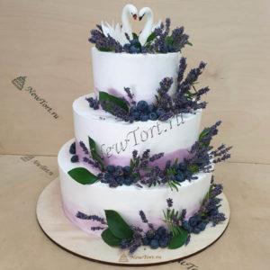 Свадебный торт - лебединое озеро СТ334