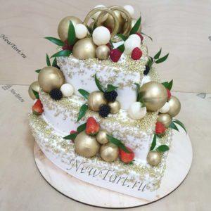 Свадебный торт сердце и шары СТ335