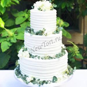 Свадебный торт с цветами СТ315