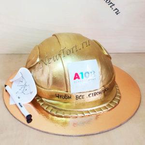 Корпоративный торт с золотой каской