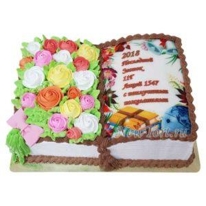 Торт книга на выпускной с цветами ТВ21