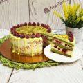 Торт фисташковый с малиной